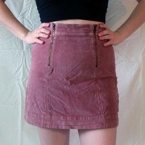 Madewell Pink Velvet Mini Skirt with Zipper Detail